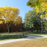 View of the library showing fall colors
