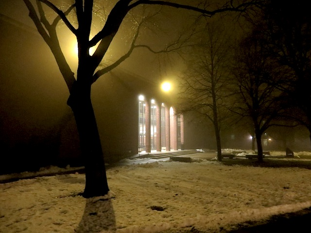 The library on a foggy morning
